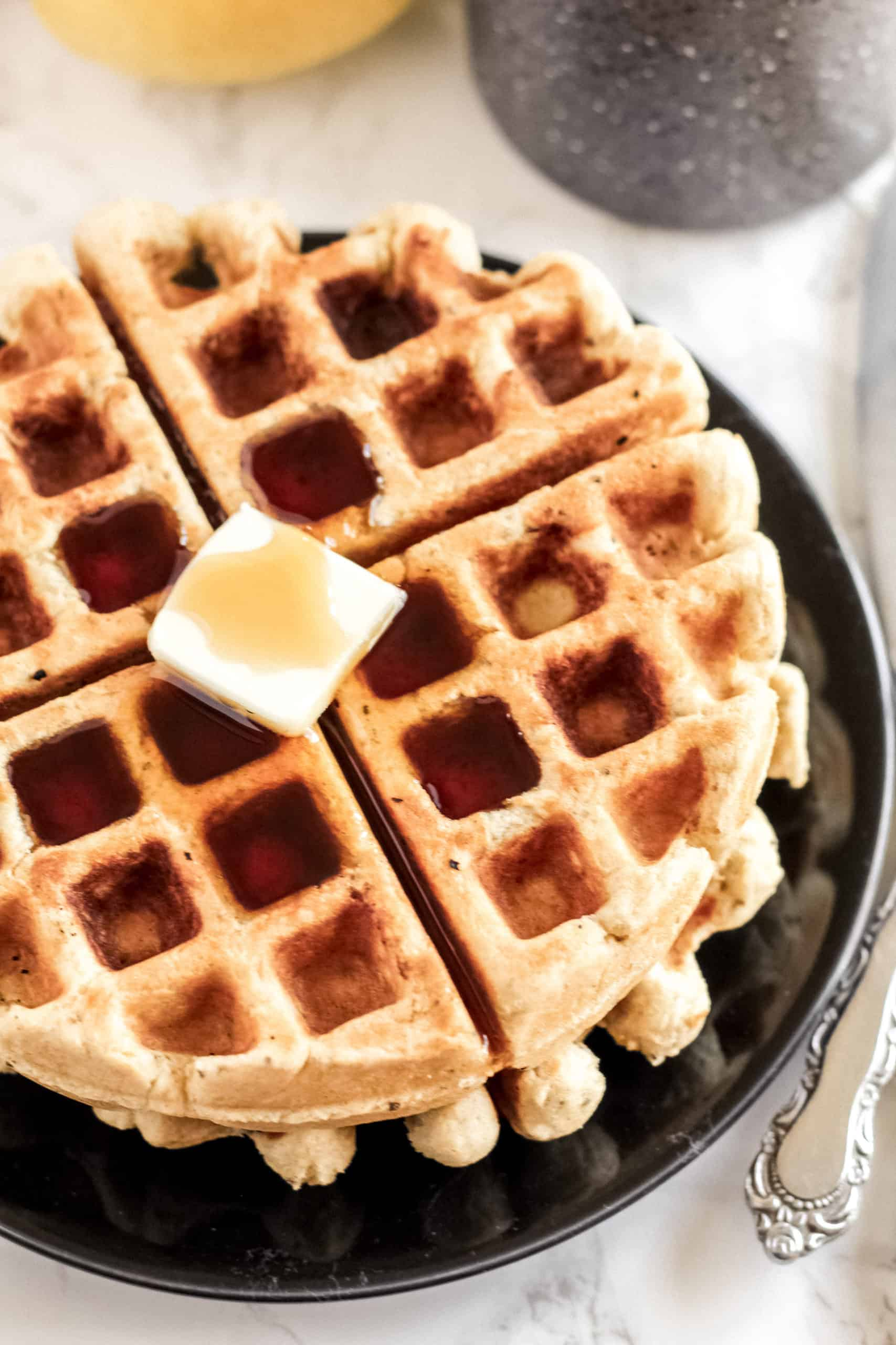 waffles with syrup and butter on top