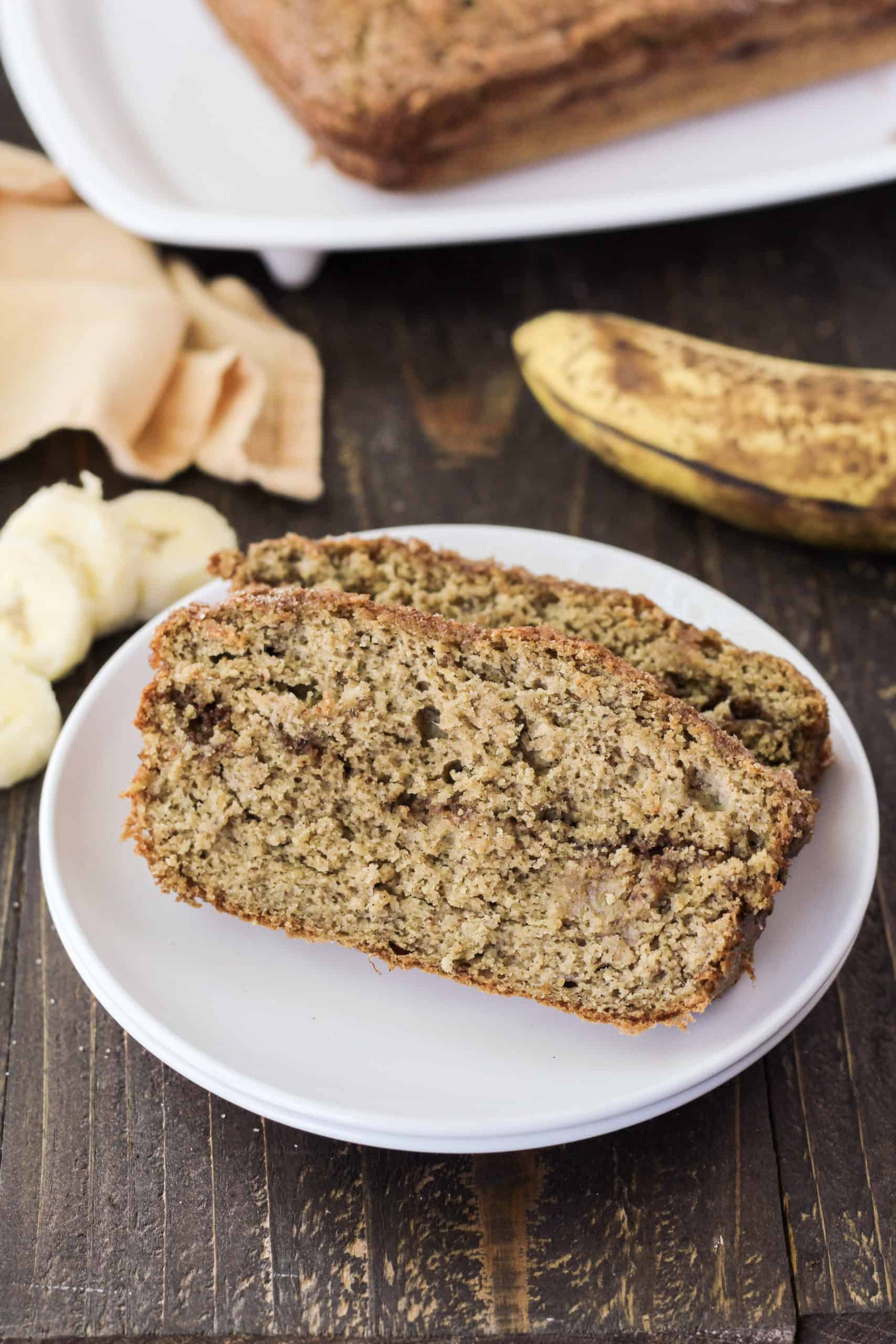 Banana bread slices on a plate
