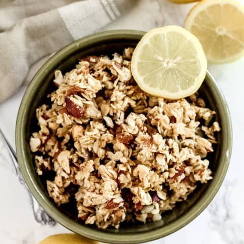 A bowl Granola with Honey