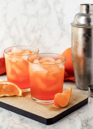 Orange drinks on a tray