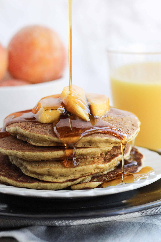 Peach Oat Pancakes (flourless, gluten-free, dairy-free, refined sugar-free)