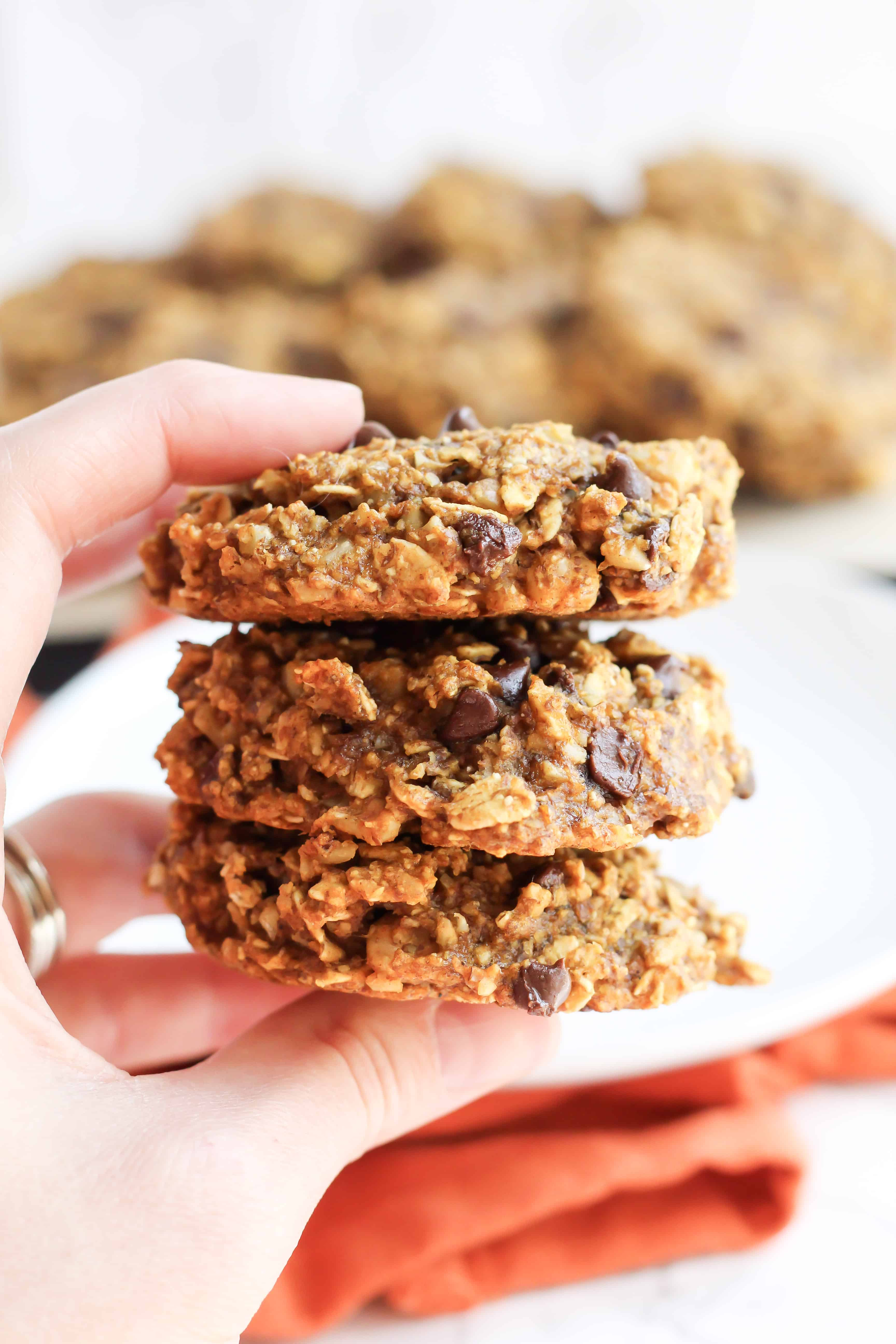 Pumpkin Chocolate Chip Breakfast Cookies (gluten-free, whole grain, refined sugar-free)