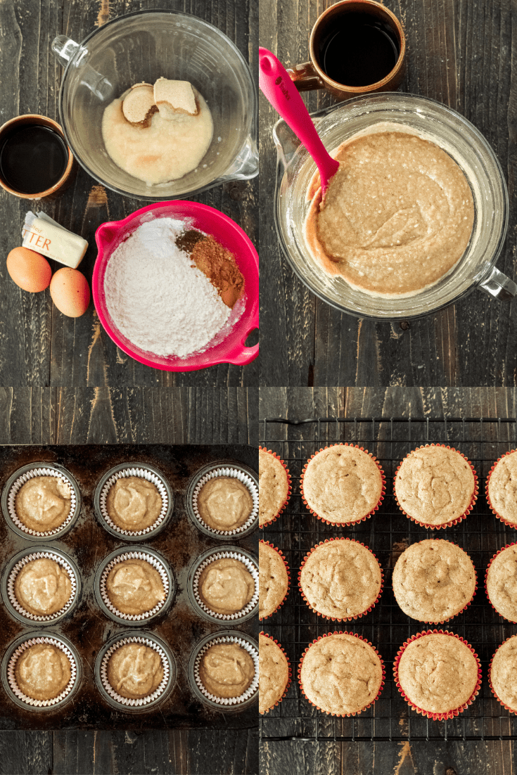 Process pictures of the cupcake ingredients, mixing together, going in a muffin tin and after they've been baked.