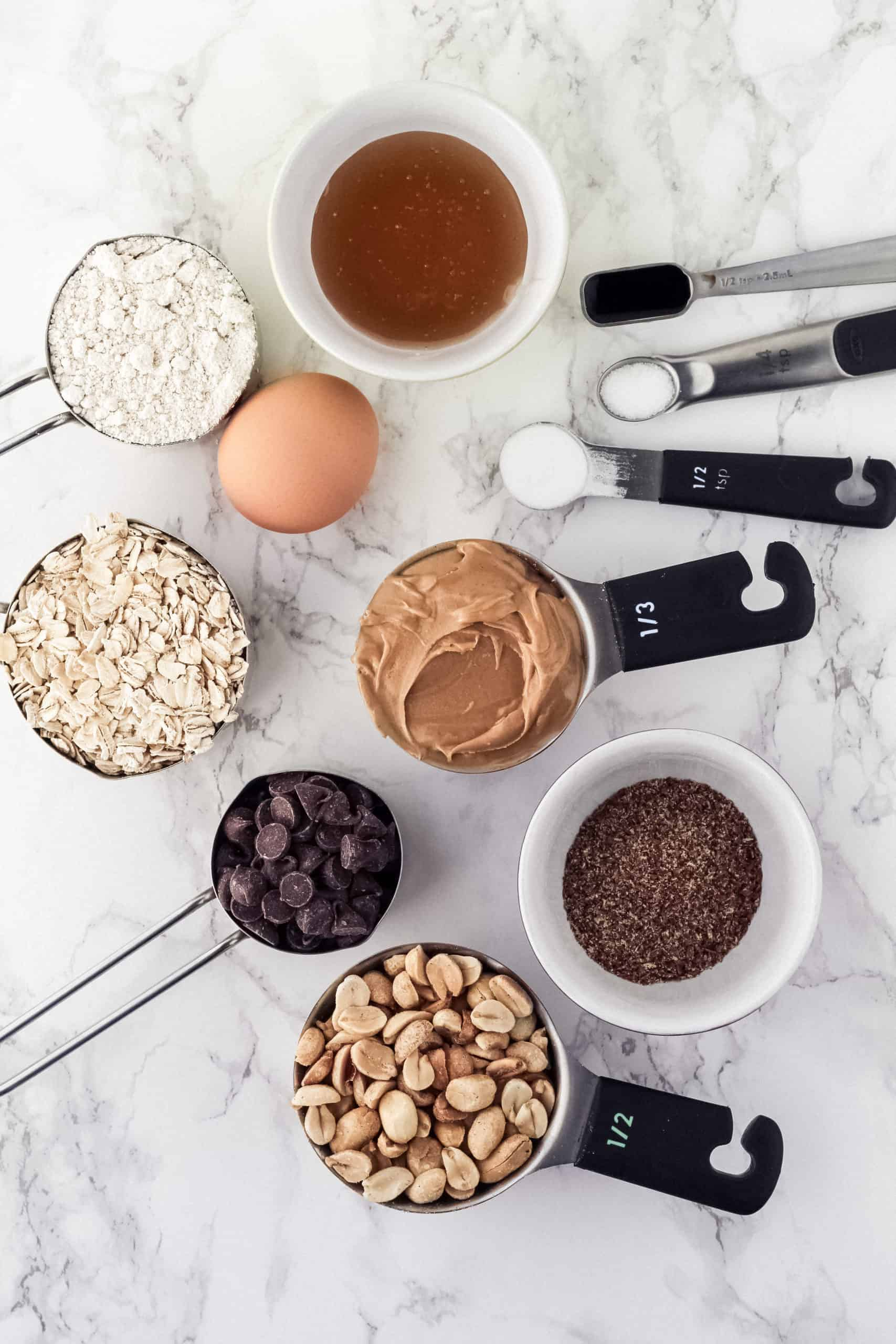 Ingredients in measuring cups and bowls