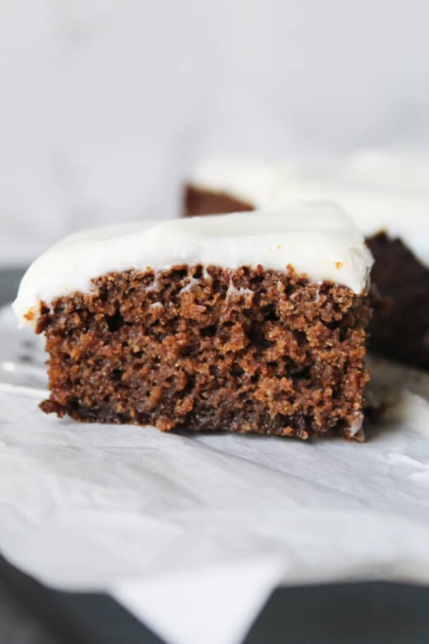 Gingerbread Cake with a light cream cheese frosting (gluten-free, whole grain, low sugar, high altitude option)