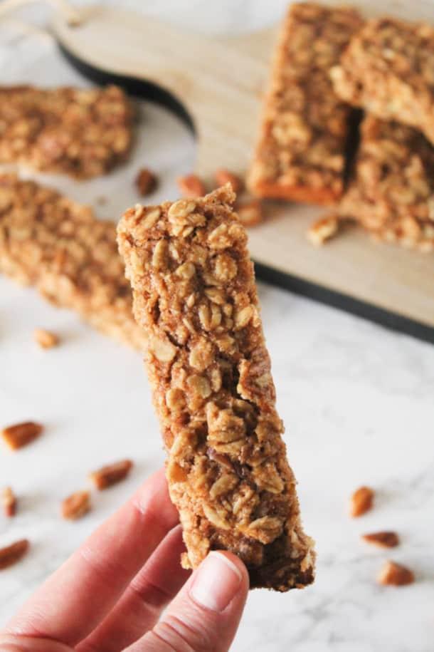 Maple Pecan Granola Bars (gluten-free, whole grain, refined sugar-free, one bowl)