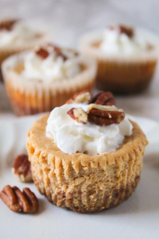 Skinny Mini Pumpkin Cheesecakes with a Pecan Crust (gluten-free, grain-free, refined sugar-free)