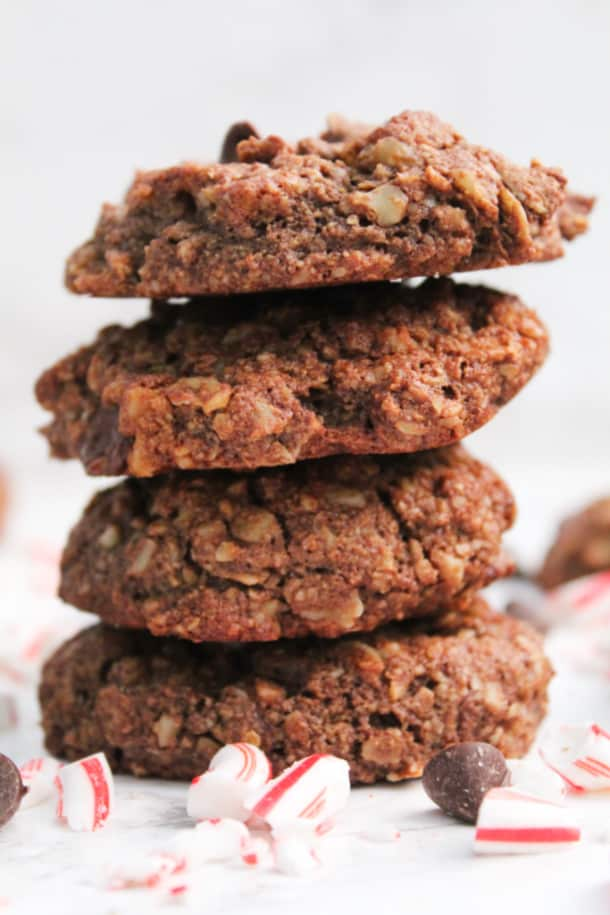A stack of Chocolate Peppermint Breakfast Cookies