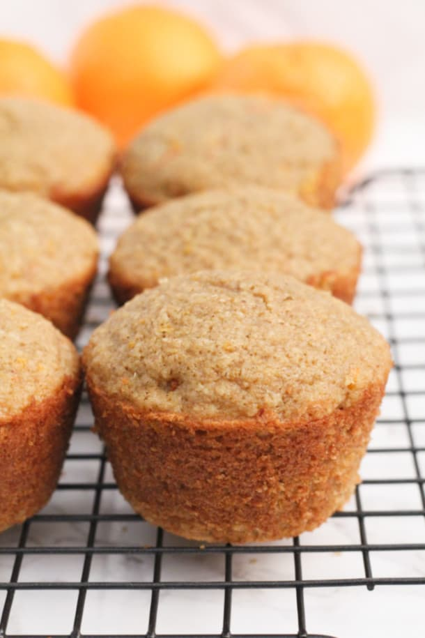 Orange Carrot Oat Muffins on a cooling rack