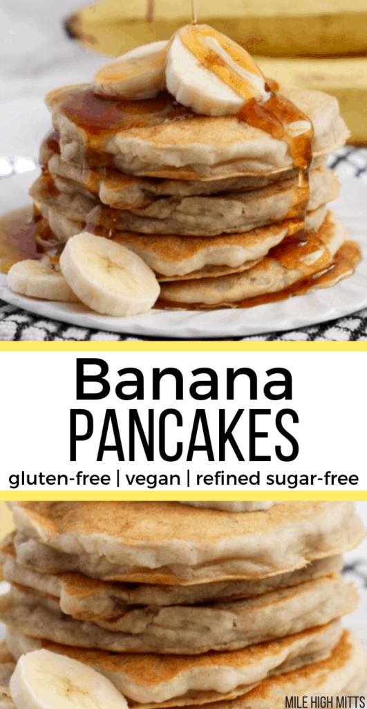 Banana Pancakes stacked on a plate with banana slices and maple syrup