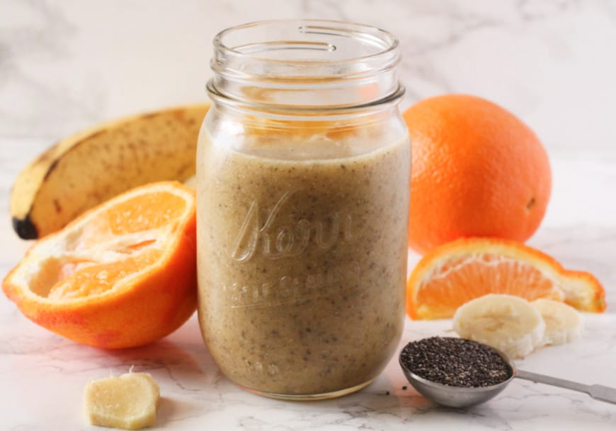 Orange smoothie in a glass
