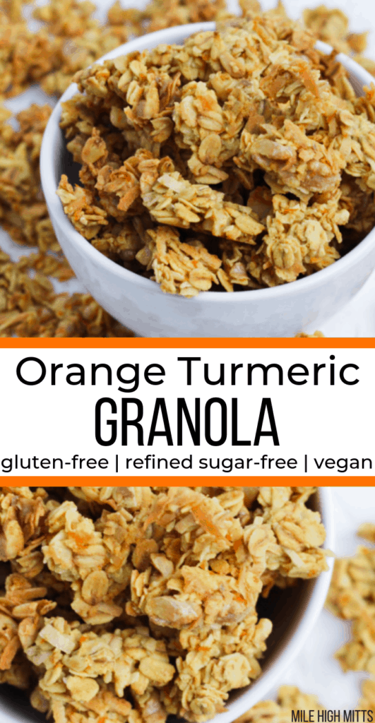 Orange Turmeric Granola in a bowl with more granola sprinkled around
