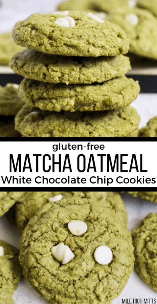 Matcha Oatmeal White Chocolate Chip Cookies in a stack and one to the side on a counter
