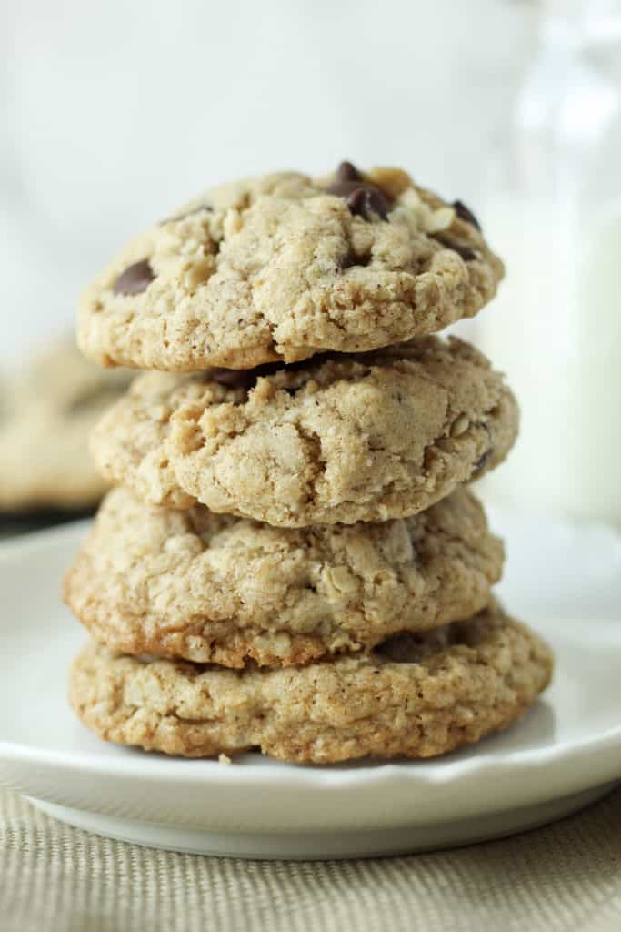 stack of four Oatmeal Chocolate Chip Cookies on a plate