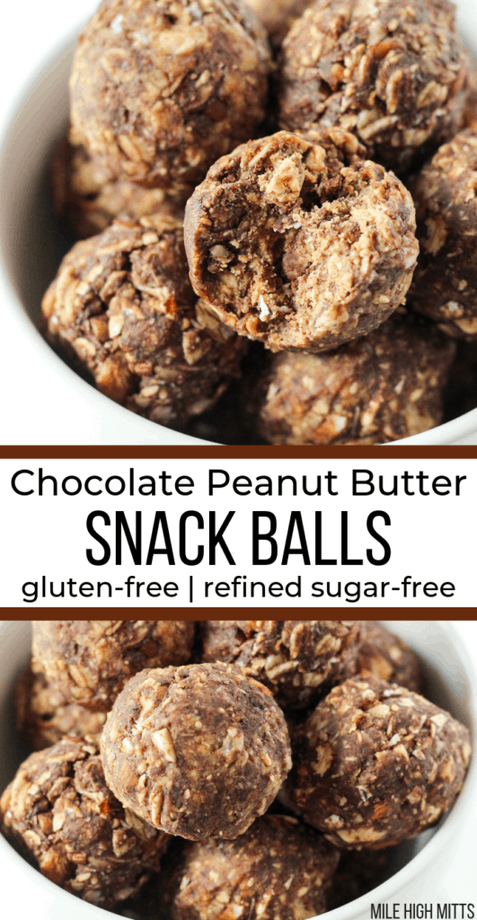 a bowl of Chocolate Peanut Butter Snack Balls with a bite taken out of one