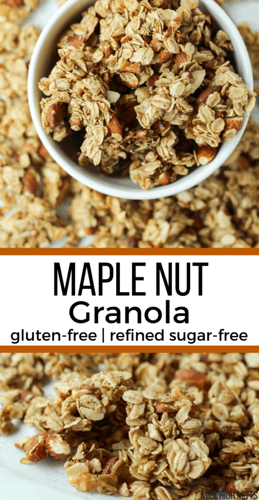 a bowl of Maple Nut Granola with other clusters of granola around