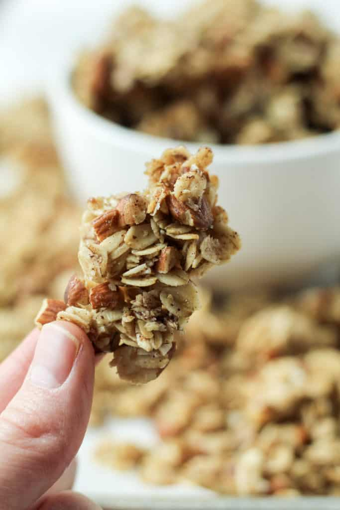 close up view of one chunk of Maple Nut Granola