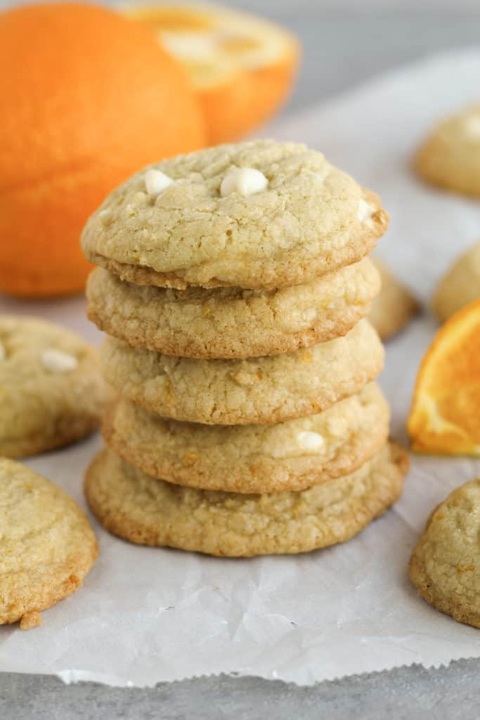 side view of a stack of five Orange Cookies