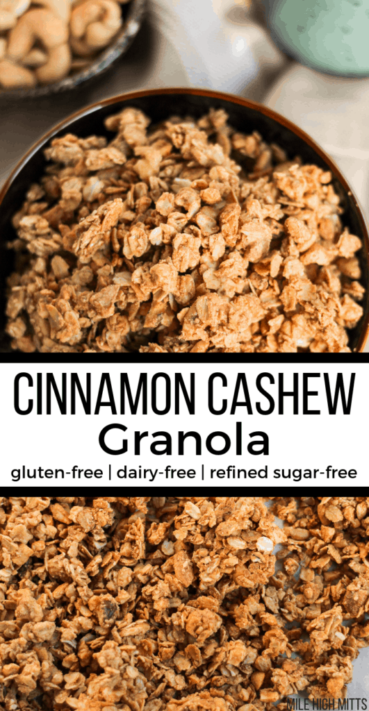 Cinnamon Cashew Granola in a bowl and on a pan