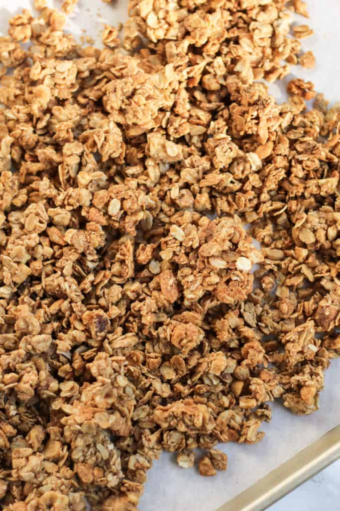 pan filled with clusters of Cinnamon Cashew Granola