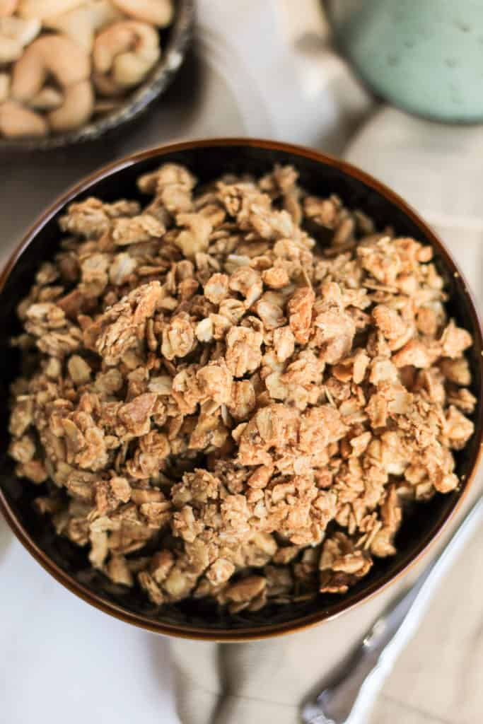 a bowl filled with Cinnamon Cashew Granola