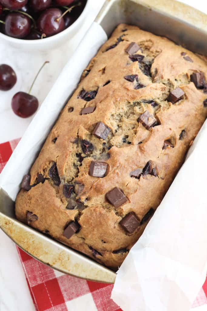 a loaf of Dark Chocolate Chunk Cherry Bread from the top down view