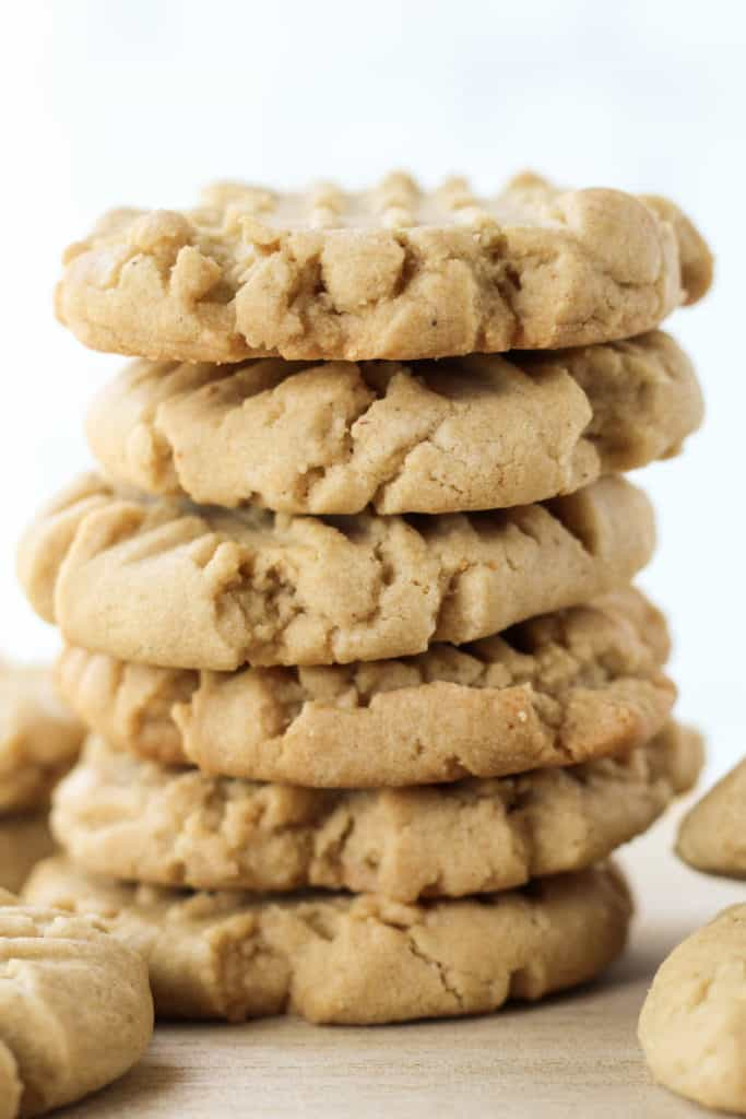 a stack of seven Peanut Butter Cookies from the side view