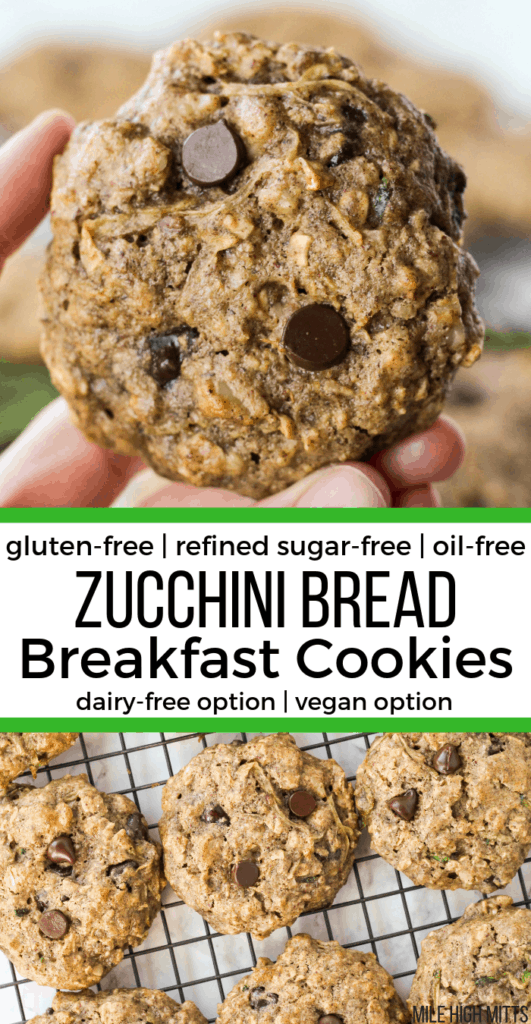 one Zucchini Bread Breakfast Cookie held up by a hand and others on a cooling rack