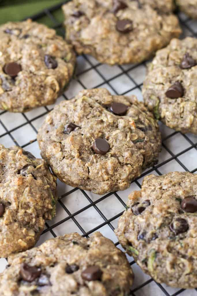 Zucchini Bread Breakfast Cookies on a cooling rack