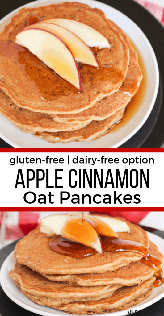 A stack of Apple Cinnamon Oat Pancakes on a plate with apple slices and maple syrup on top