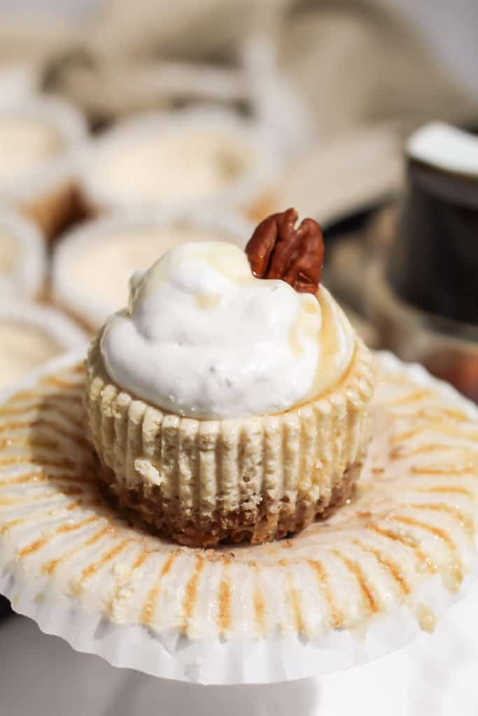 A close up of one Skinny Mini Maple Pecan Cheesecake unwrapped from the cupcake liner