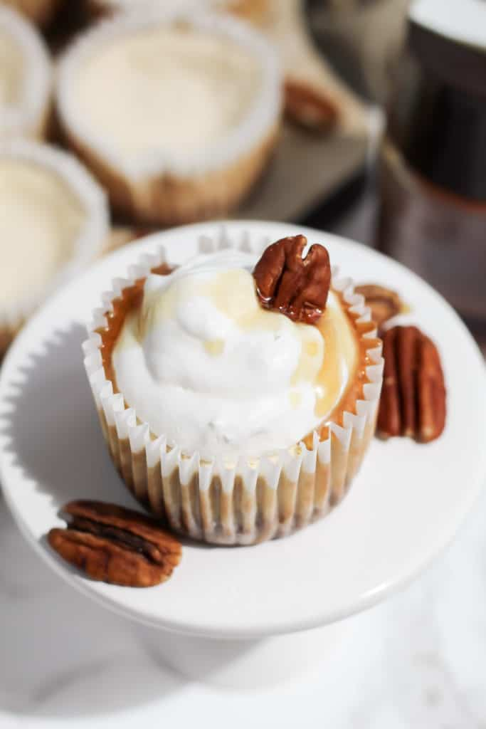 A close up of one Skinny Mini Maple Pecan Cheesecake on a mini cake stand surrounded by pecans