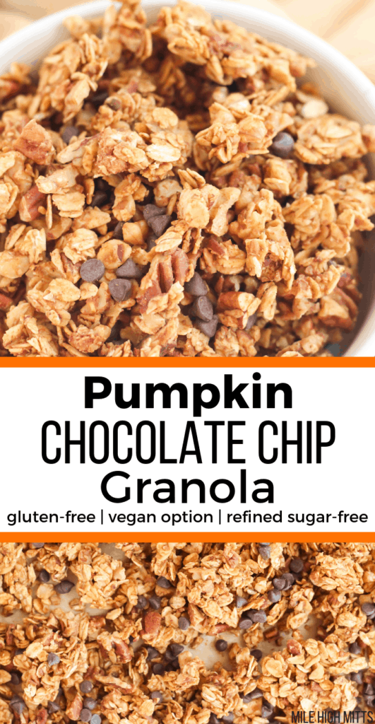 Pumpkin Chocolate Chip Granola in a bowl and laid out on a pan