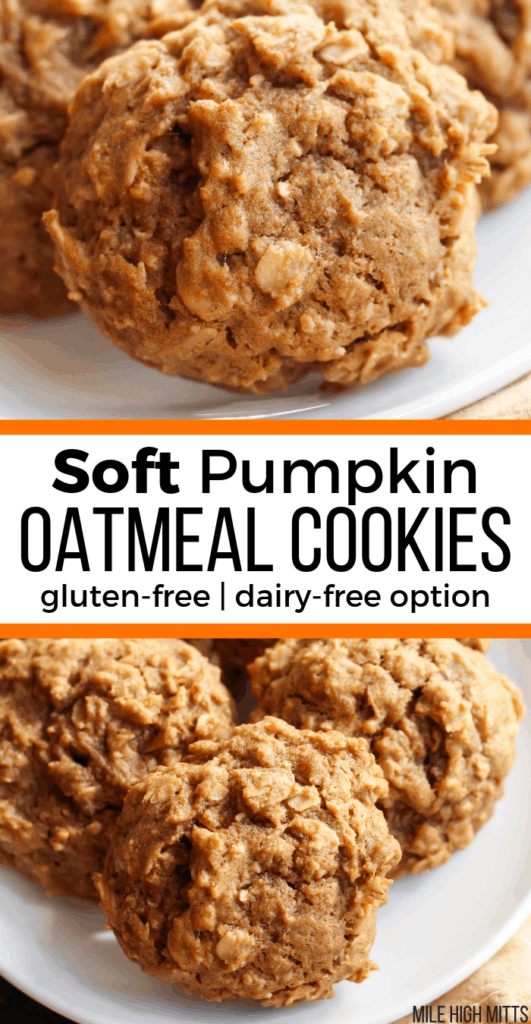 Soft Pumpkin Oatmeal Cookies on a plate