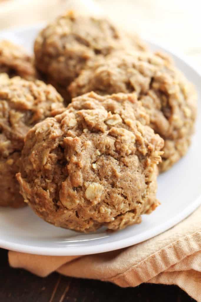 Soft Pumpkin Oatmeal Cookies on a plate