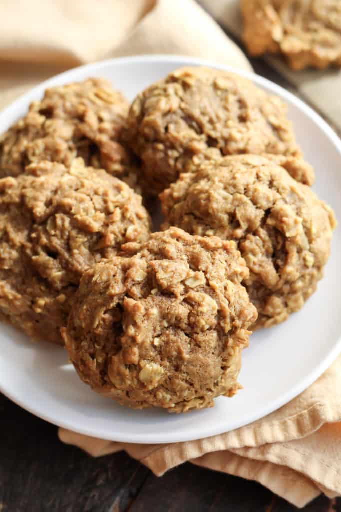 five Soft Pumpkin Oatmeal Cookies on a plate