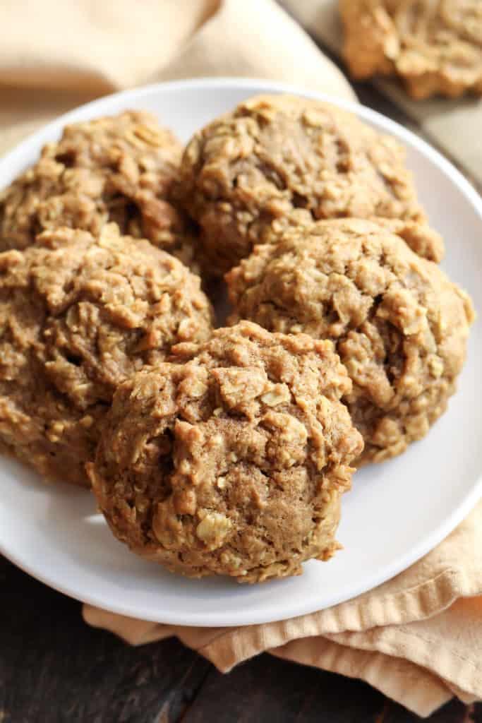 five Soft Pumpkin Oatmeal Cookies on a plate