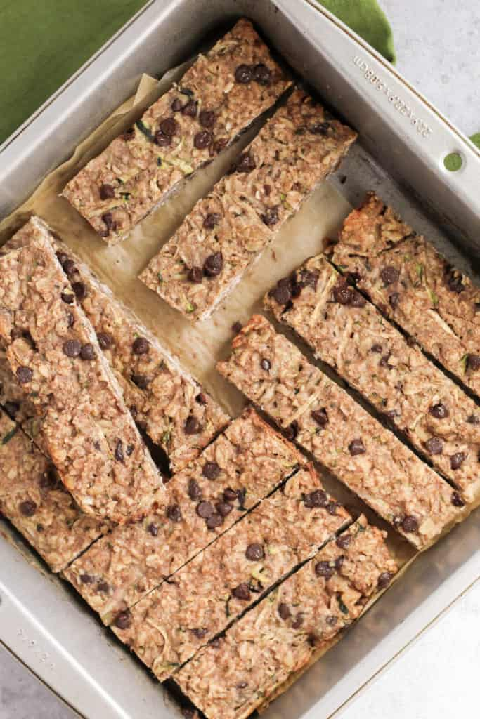 A 9x9 pan filled with Zucchini Bread Granola Bars