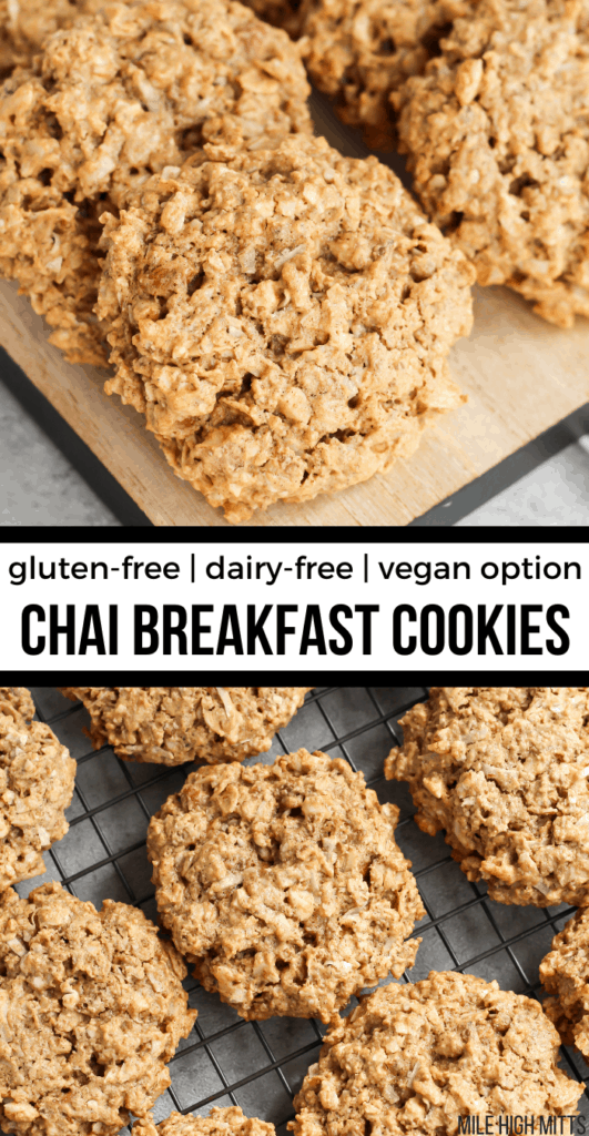 Chai Breakfast Cookies on a wood tray and a cooling rack
