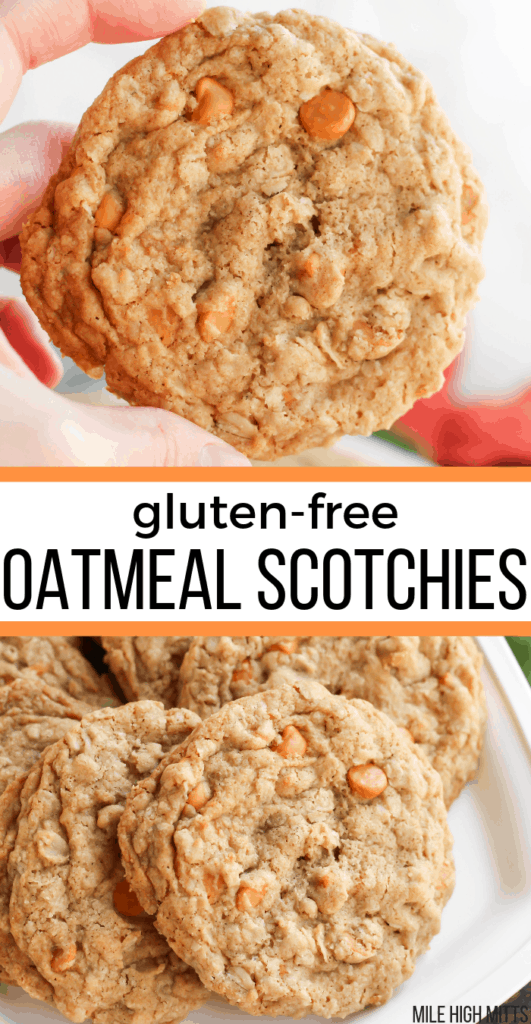 Oatmeal Scotchies on a tray and one held up close up