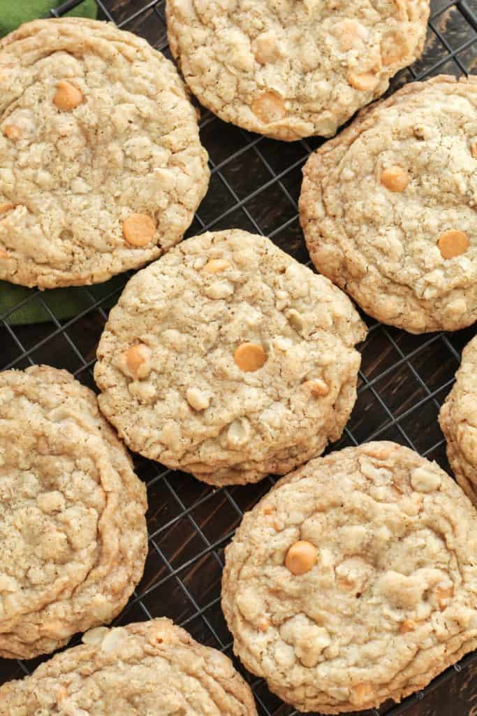 Oatmeal Scotchies on a cooling rack