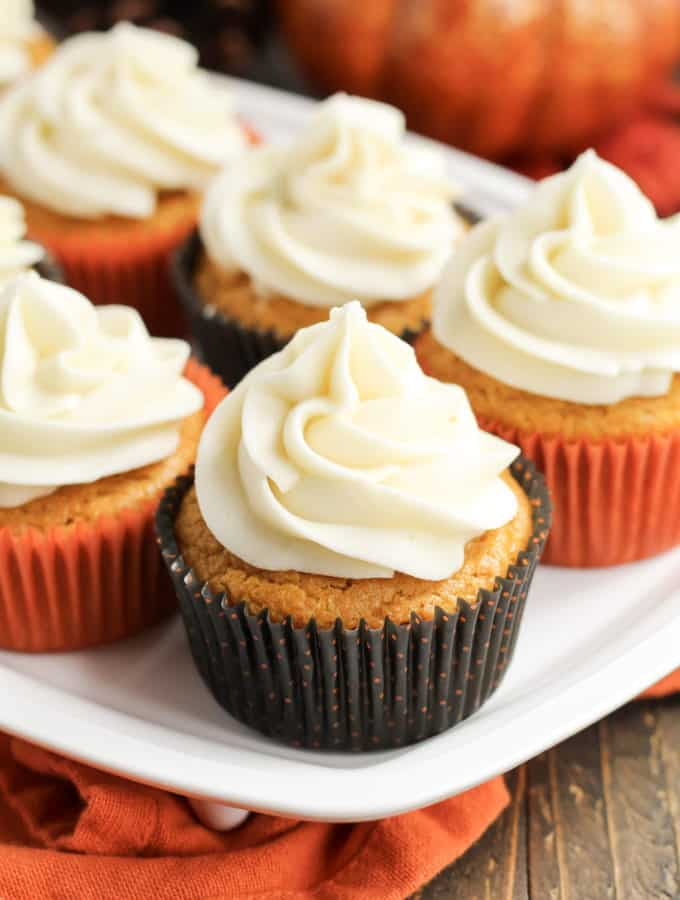 Pumpkin cupcakes on a tray