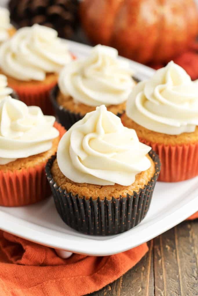 Pumpkin Cupcakes on a tray