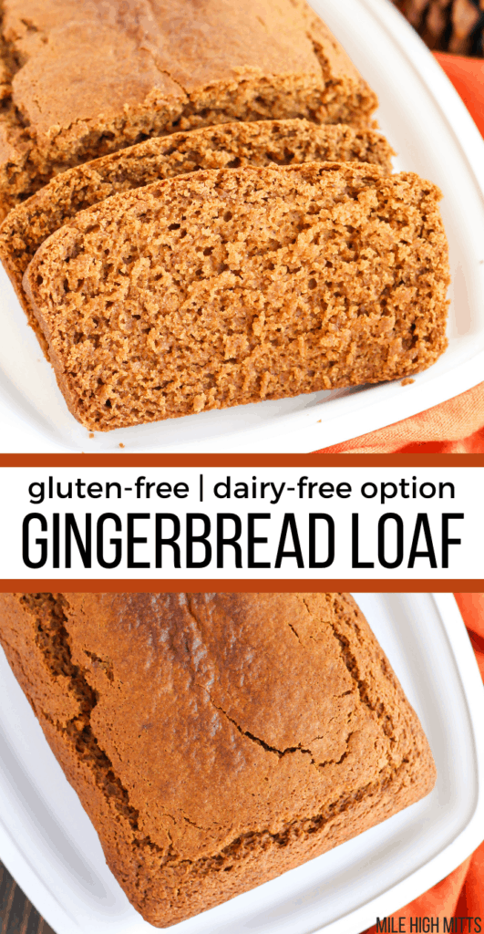 Gingerbread Loaf from the top, and one piece of bread to see the inside