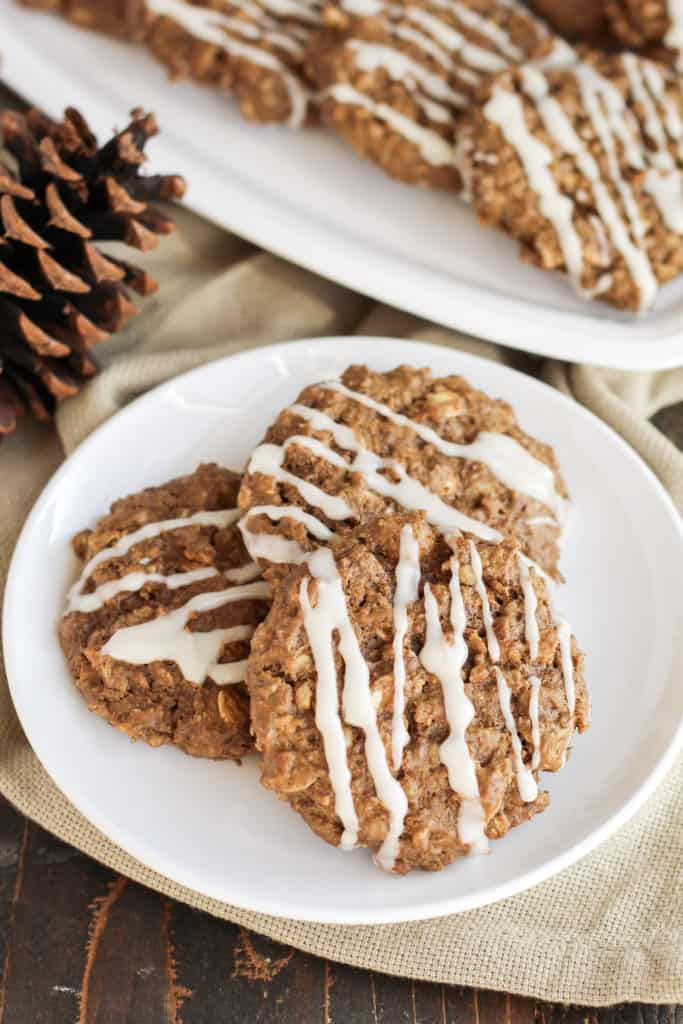 A plate with three Gingerbread Breakfast Cookies
