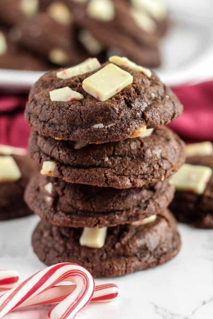 Stack of Chocolate Peppermint Cookies from the side