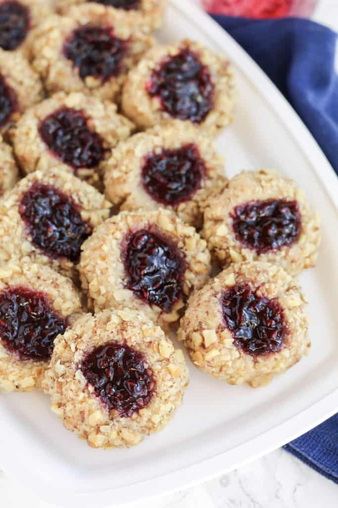 A tray of Thumbprint Cookies