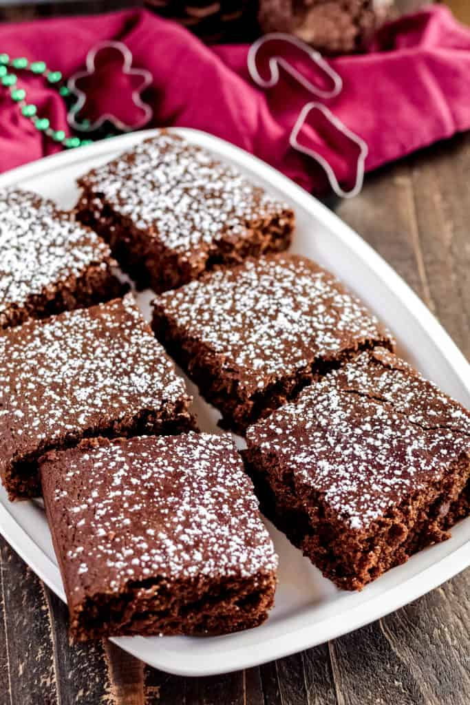 A tray with six pieces of Gingerbread Cake