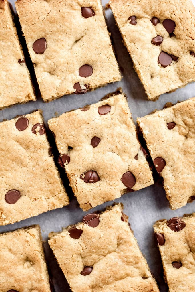 Peanut Butter Cookie Bars cut and laid out with a top down view