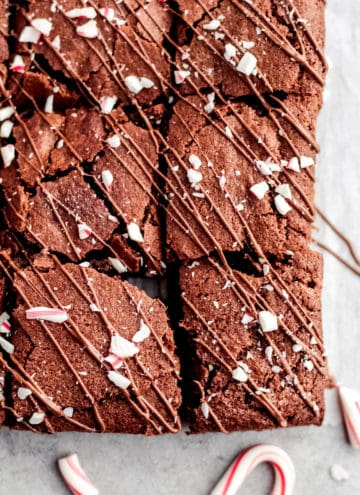 A close up of brownies with peppermint